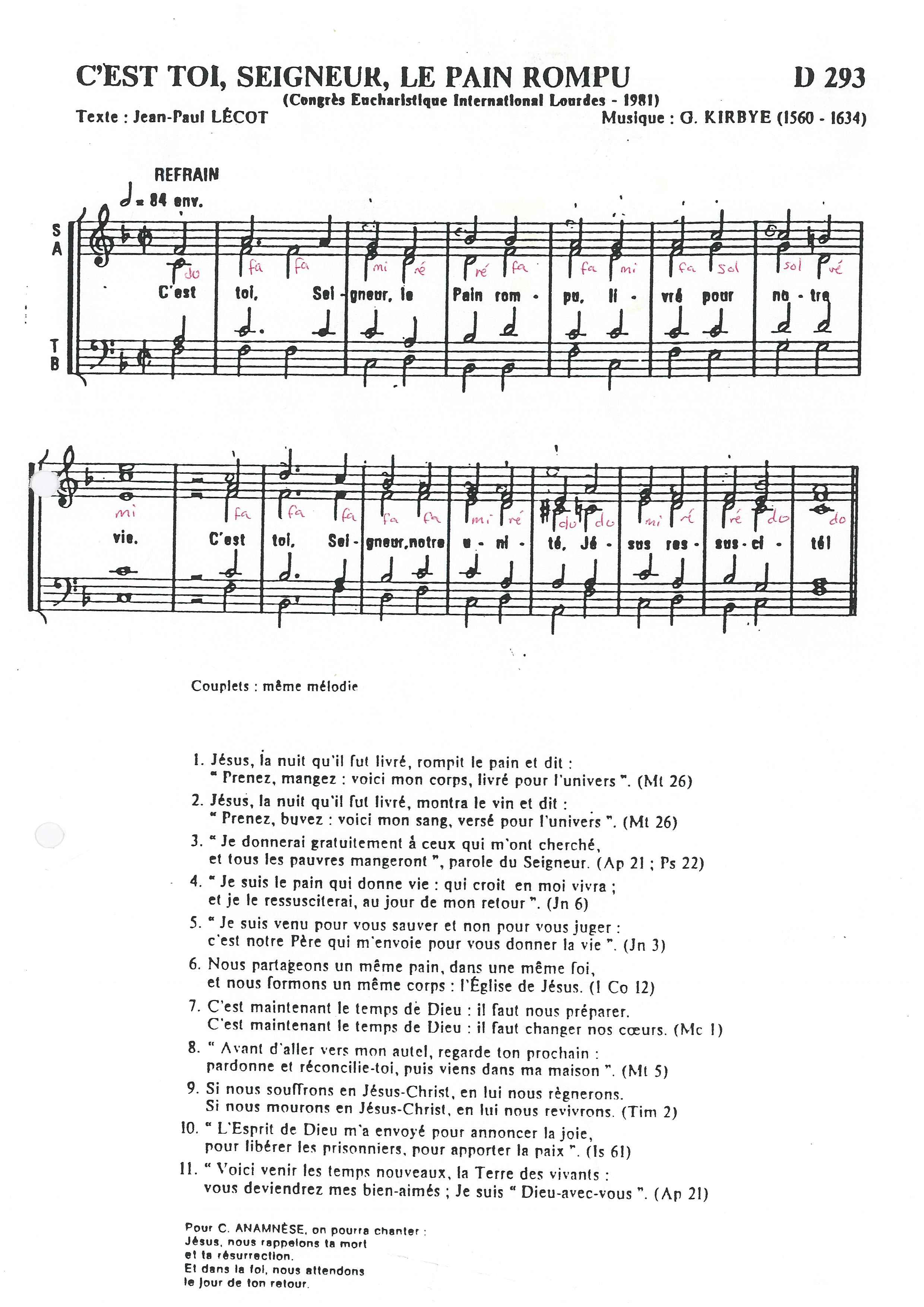Partition chant a la rencontre du seigneur